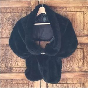 Bebe faux fur shawl shrug with rhinestones broach
